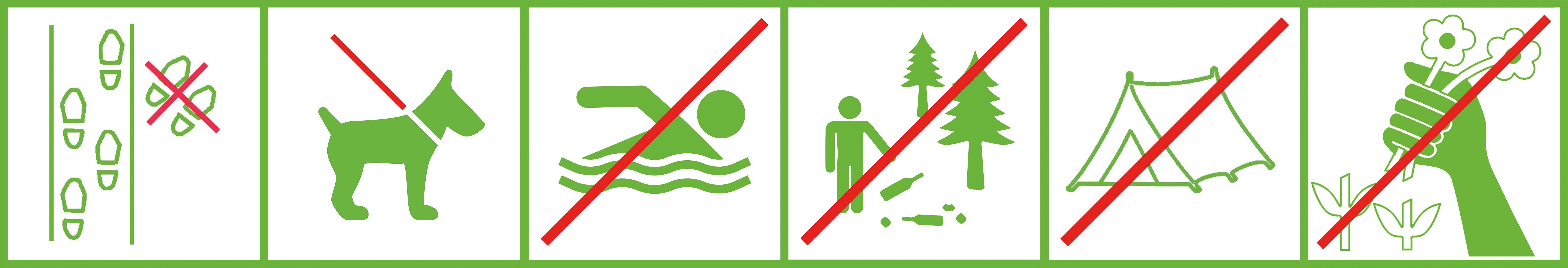 Zum Schutz der Artenvielfalt bitten wir um Verständnis und Einhaltung folgender Regeln im Naturschutzgebiet: Wege nicht verlassen; Hunde an der Leine führen; die Seen nicht betreten; kein Müll hinterlassen; keine Pflanzen Pflücken.